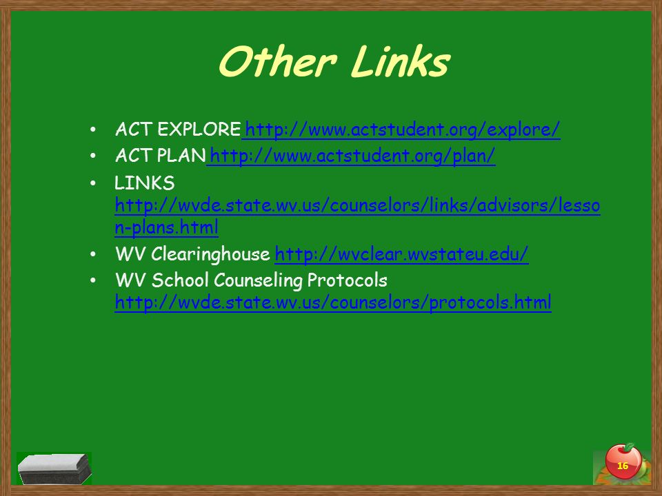 Other Links ACT EXPLORE http://www.actstudent.org/explore/ http://www.actstudent.org/explore/ ACT PLAN http://www.actstudent.org/plan/ http://www.acts