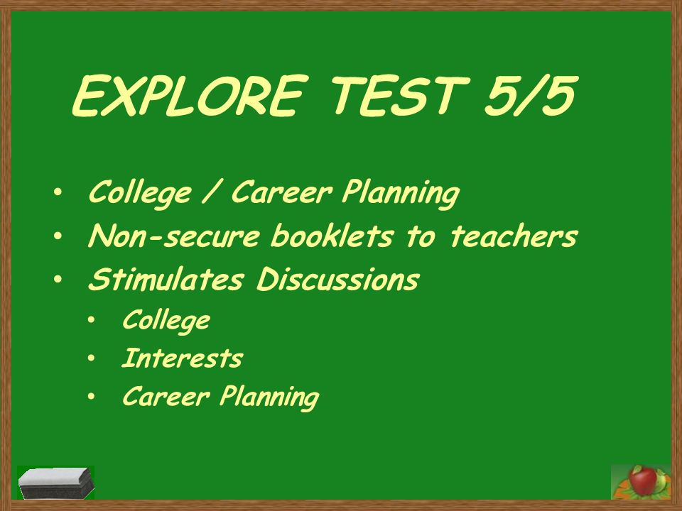 EXPLORE TEST 5/5 College / Career Planning Non-secure booklets to teachers Stimulates Discussions College Interests Career Planning