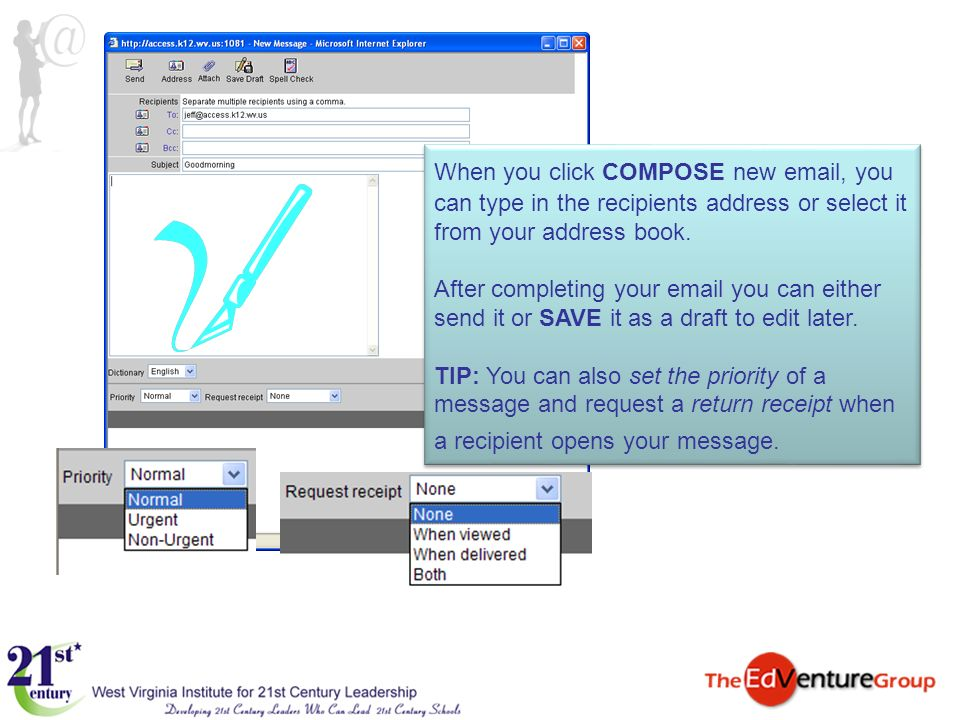 When you click COMPOSE new email, you can type in the recipients address or select it from your address book. After completing your email you can eith