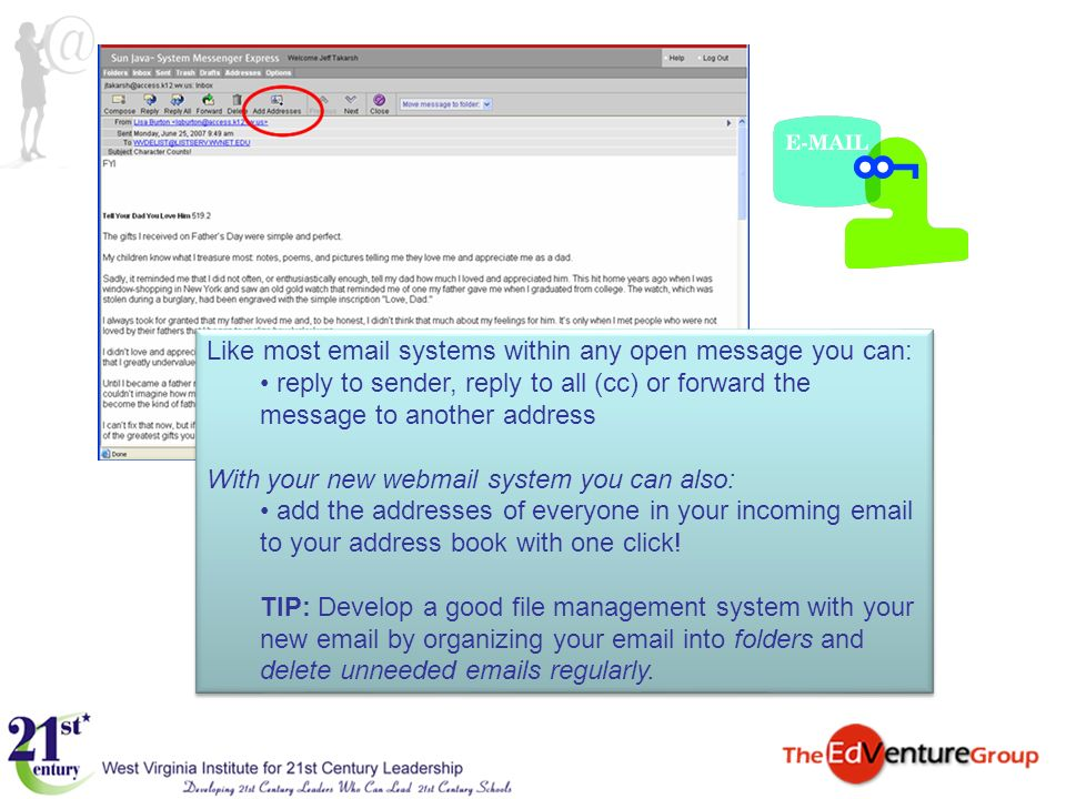 Like most email systems within any open message you can: reply to sender, reply to all (cc) or forward the message to another address With your new we