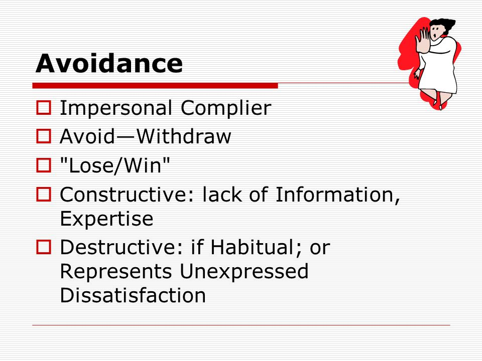 Avoidance Impersonal Complier AvoidWithdraw