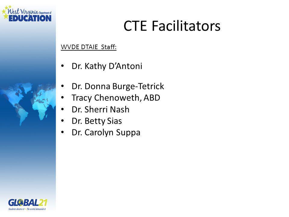 CTE Facilitators WVDE DTAIE Staff: Dr. Kathy DAntoni Dr.