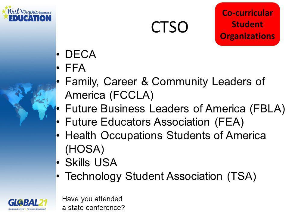 CTSO Have you attended a state conference? Co-curricular Student Organizations DECA FFA Family, Career & Community Leaders of America (FCCLA) Future B