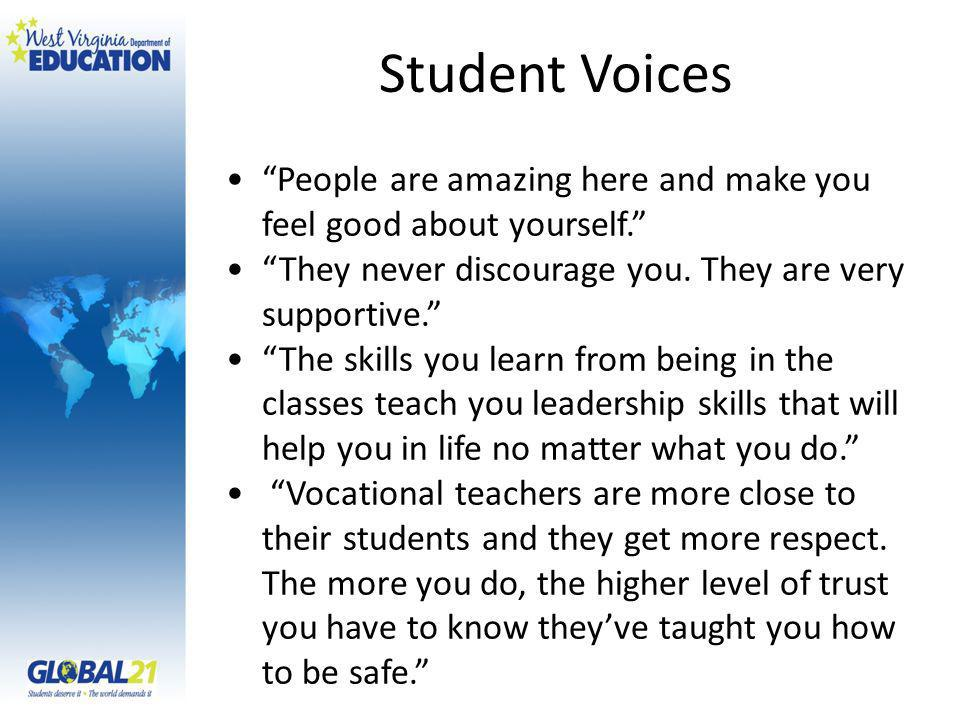 Student Voices People are amazing here and make you feel good about yourself.