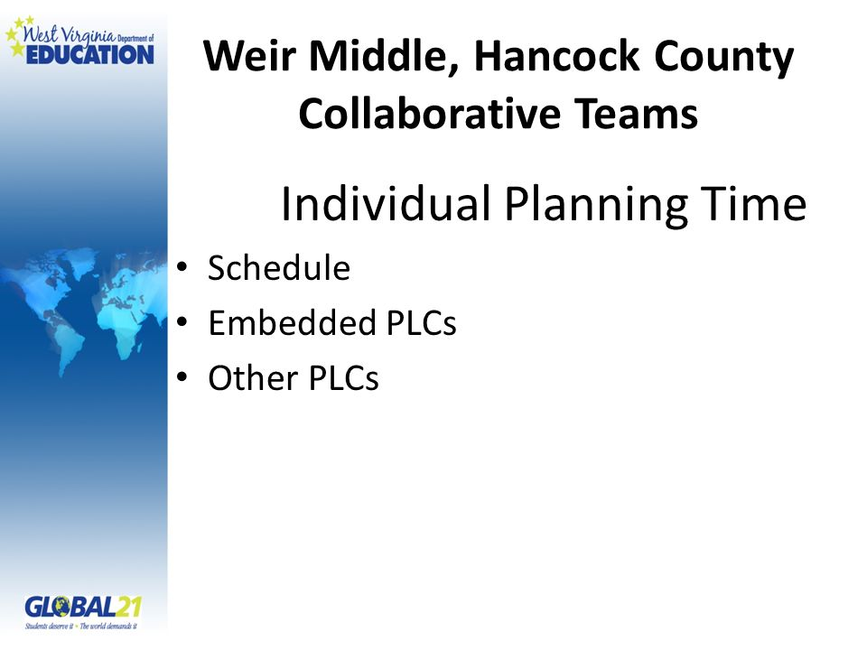 Weir Middle, Hancock County Collaborative Teams Individual Planning Time Schedule Embedded PLCs Other PLCs