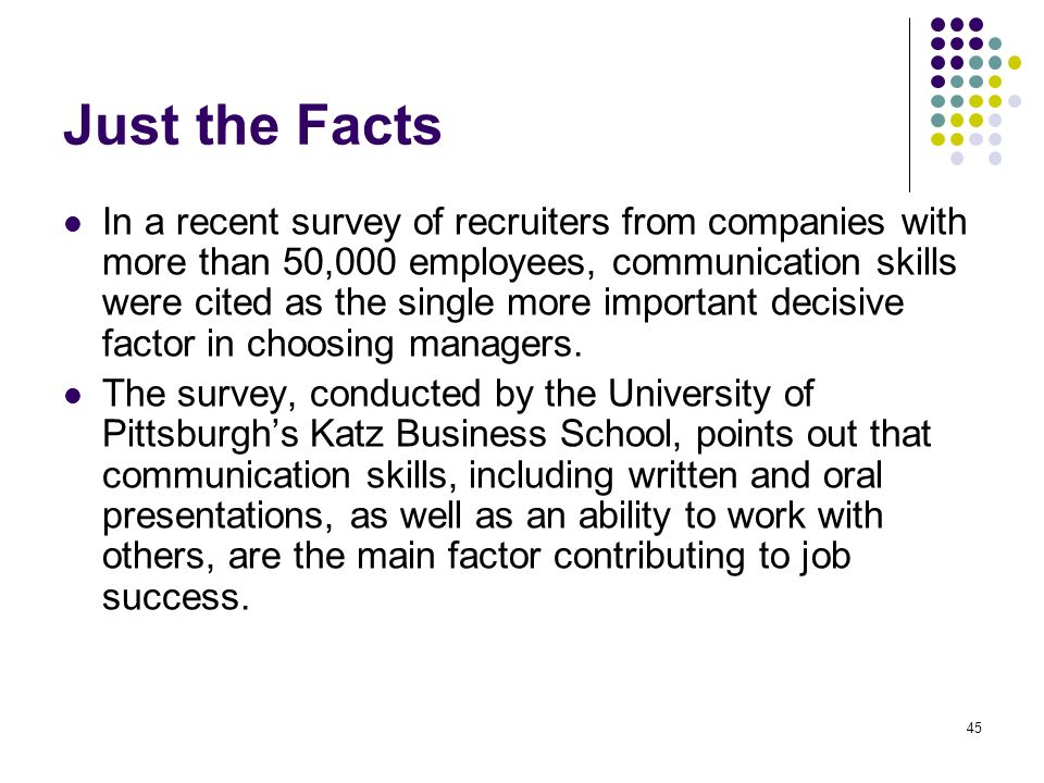 45 Just the Facts In a recent survey of recruiters from companies with more than 50,000 employees, communication skills were cited as the single more