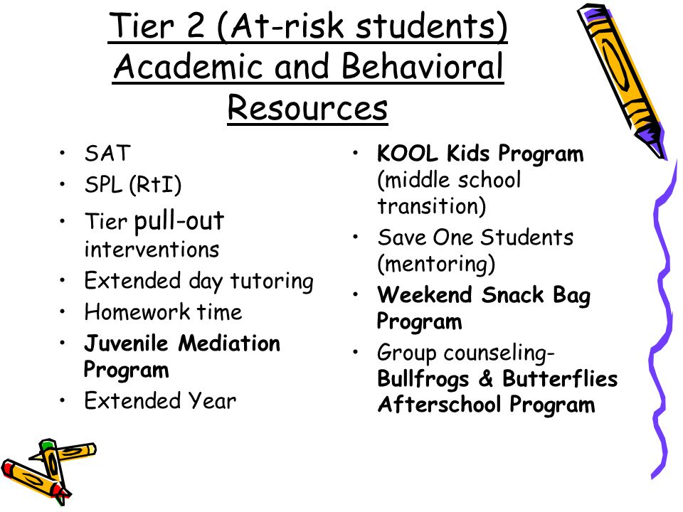Tier 2 (At-risk students) Academic and Behavioral Resources SAT SPL (RtI) Tier pull-out interventions Extended day tutoring Homework time Juvenile Mediation Program Extended Year KOOL Kids Program (middle school transition) Save One Students (mentoring) Weekend Snack Bag Program Group counseling- Bullfrogs & Butterflies Afterschool Program