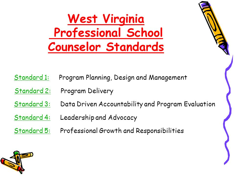 West Virginia Professional School Counselor Standards Standard 1:Standard 1: Program Planning, Design and Management Standard 2:Standard 2: Program Delivery Standard 3:Standard 3: Data Driven Accountability and Program Evaluation Standard 4:Standard 4: Leadership and Advocacy Standard 5:Standard 5: Professional Growth and Responsibilities