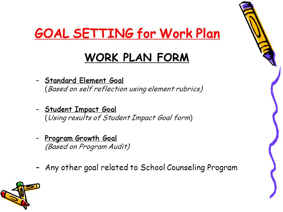 GOAL SETTING for Work Plan WORK PLAN FORM –Standard Element Goal (Based on self reflection using element rubrics) –Student Impact Goal (Using results of Student Impact Goal form) –Program Growth Goal (Based on Program Audit) –Any other goal related to School Counseling Program