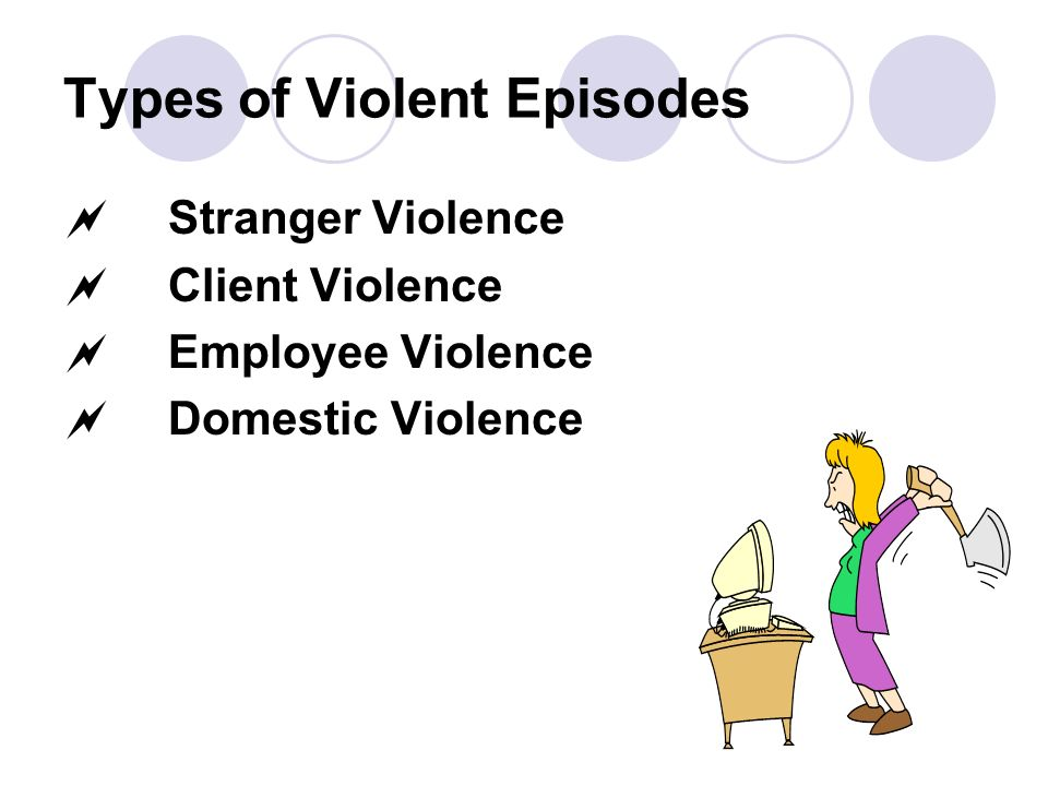 Types of Violent Episodes Stranger Violence Client Violence Employee Violence Domestic Violence