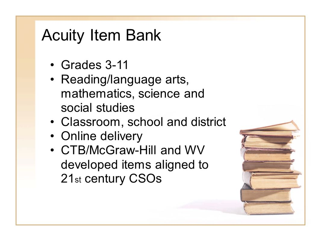 Acuity Item Bank Grades 3-11 Reading/language arts, mathematics, science and social studies Classroom, school and district Online delivery CTB/McGraw-