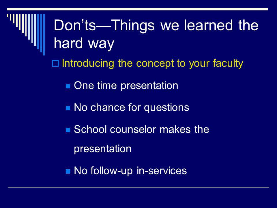 DontsThings we learned the hard way Introducing the concept to your faculty One time presentation No chance for questions School counselor makes the p