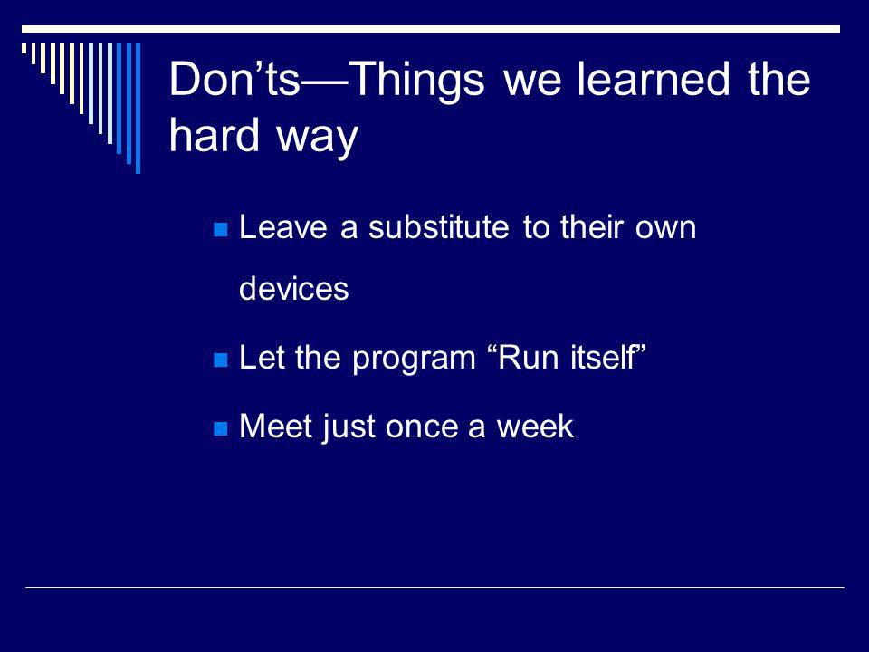 DontsThings we learned the hard way Leave a substitute to their own devices Let the program Run itself Meet just once a week