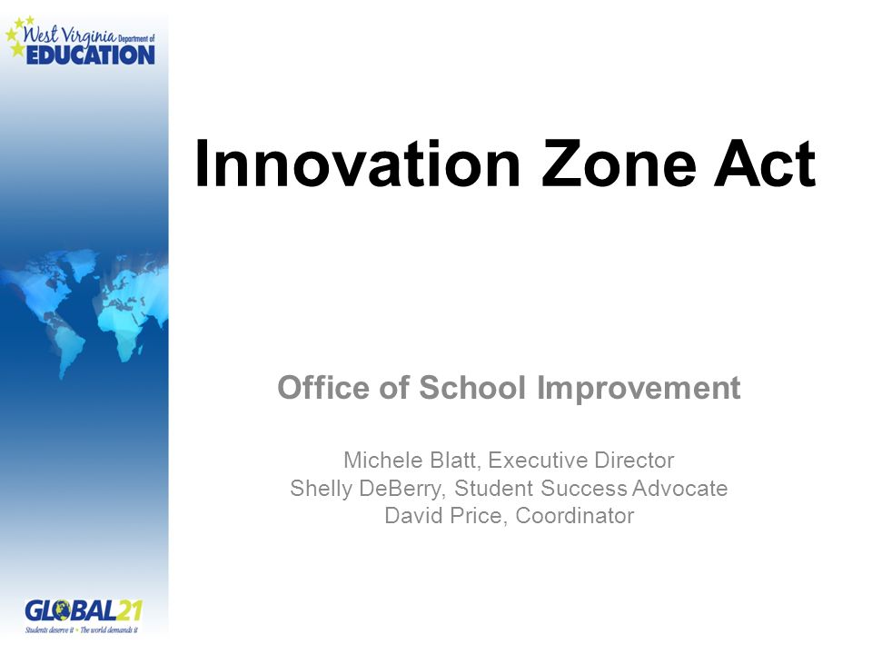 Innovation Zone Act Office of School Improvement Michele Blatt, Executive Director Shelly DeBerry, Student Success Advocate David Price, Coordinator