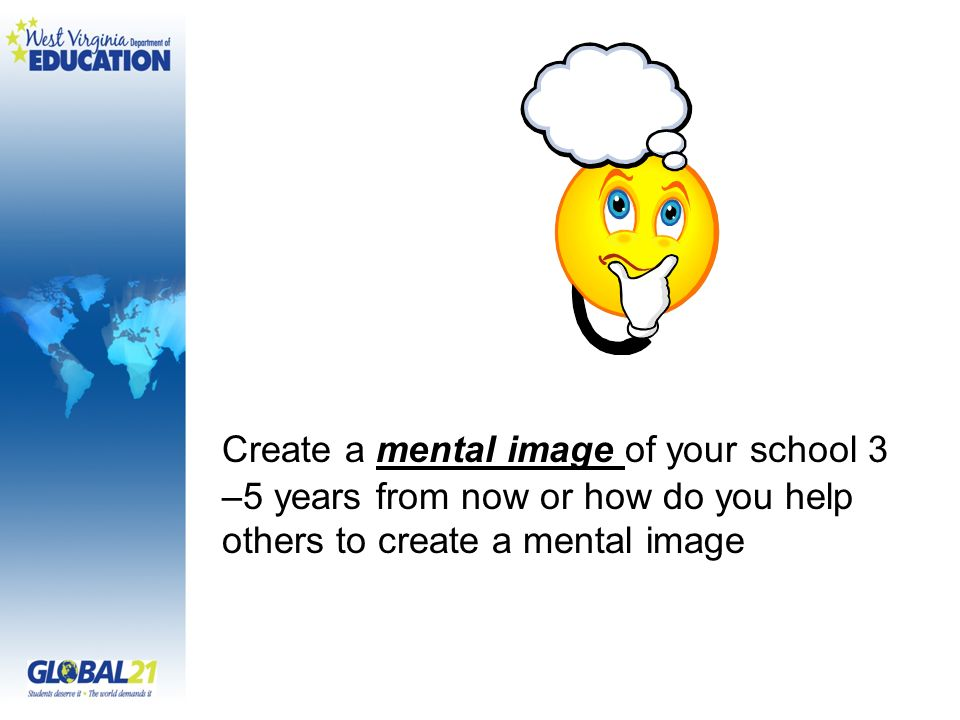 Create a mental image of your school 3 –5 years from now or how do you help others to create a mental image