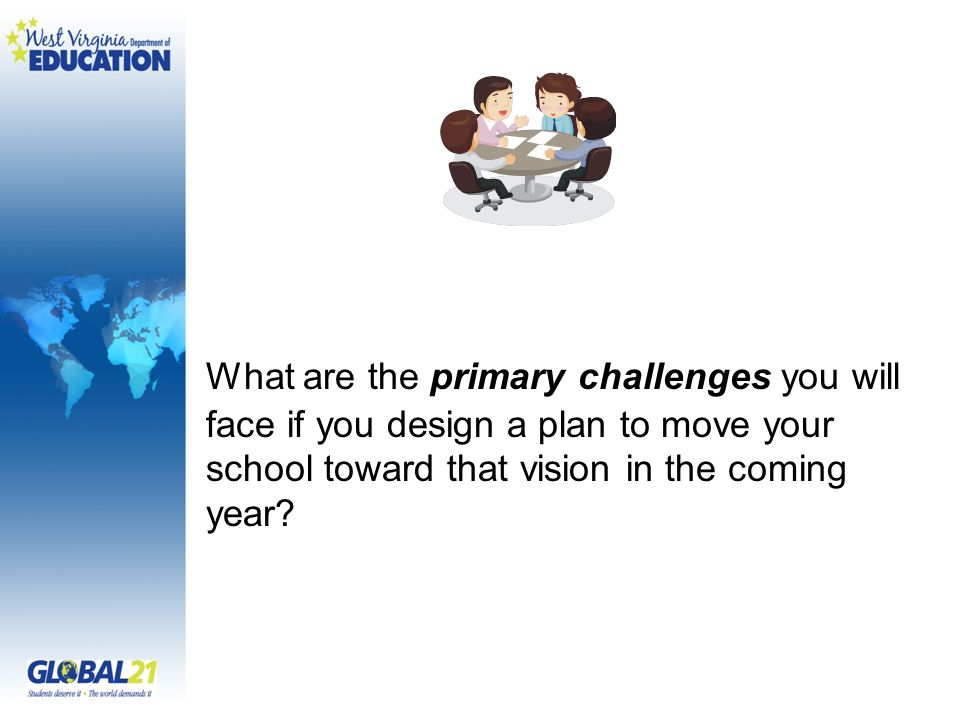 What are the primary challenges you will face if you design a plan to move your school toward that vision in the coming year
