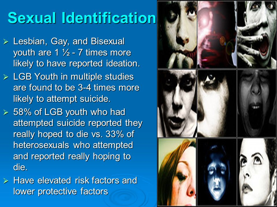 Lesbian, Gay, and Bisexual youth are 1 ½ - 7 times more likely to have reported ideation.