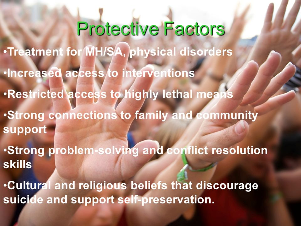 Protective Factors Treatment for MH/SA, physical disorders Increased access to interventions Restricted access to highly lethal means Strong connections to family and community support Strong problem-solving and conflict resolution skills Cultural and religious beliefs that discourage suicide and support self-preservation.