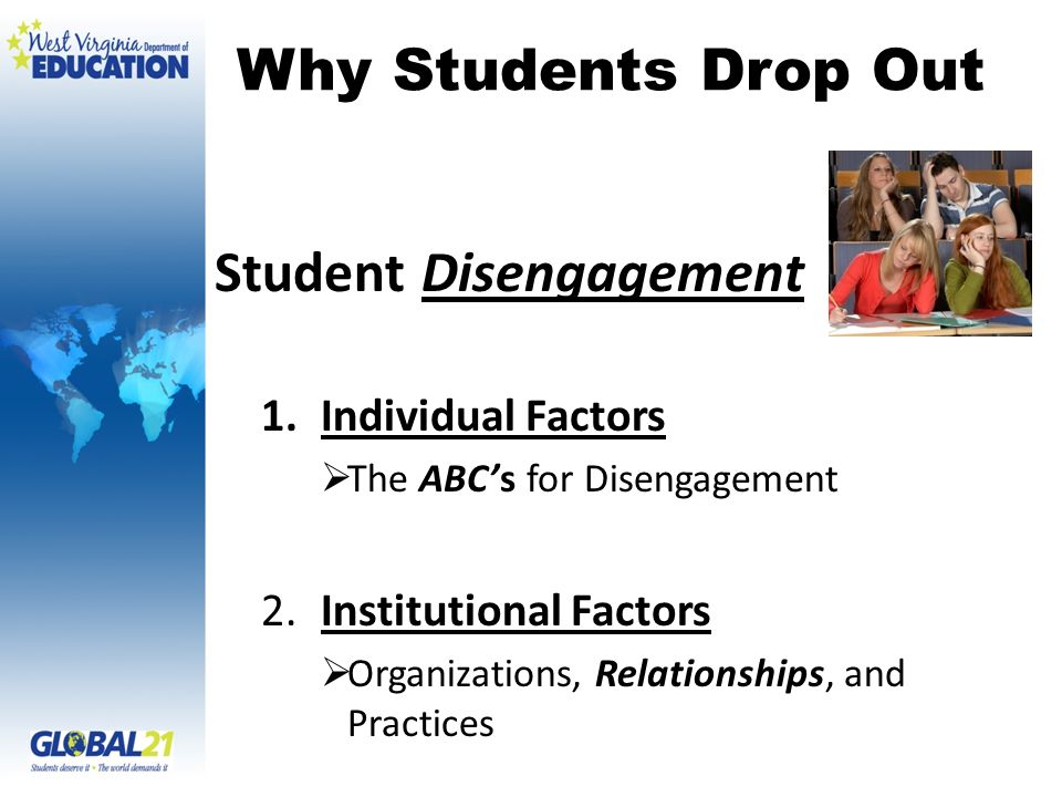 Why Students Drop Out Student Disengagement 1.Individual Factors The ABCs for Disengagement 2.Institutional Factors Organizations, Relationships, and