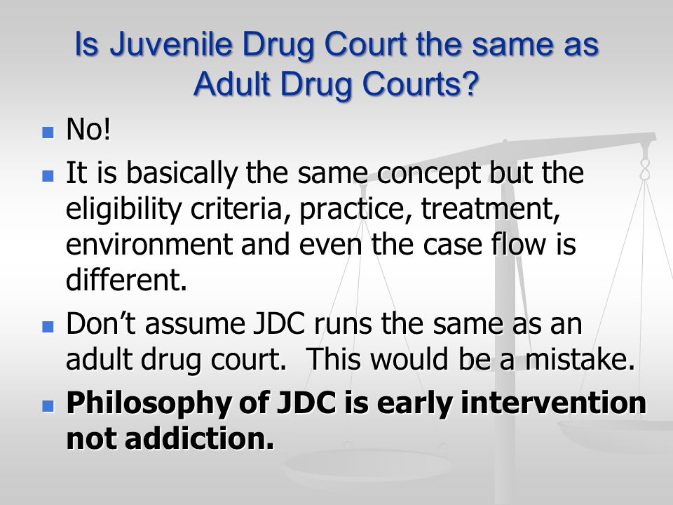 Is Juvenile Drug Court the same as Adult Drug Courts? No! No! It is basically the same concept but the eligibility criteria, practice, treatment, envi