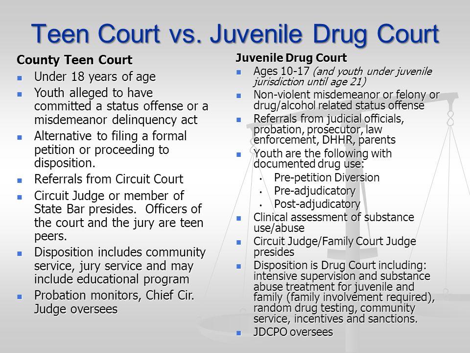 Teen Court vs. Juvenile Drug Court Juvenile Drug Court Ages 10-17 (and youth under juvenile jurisdiction until age 21) Ages 10-17 (and youth under juv