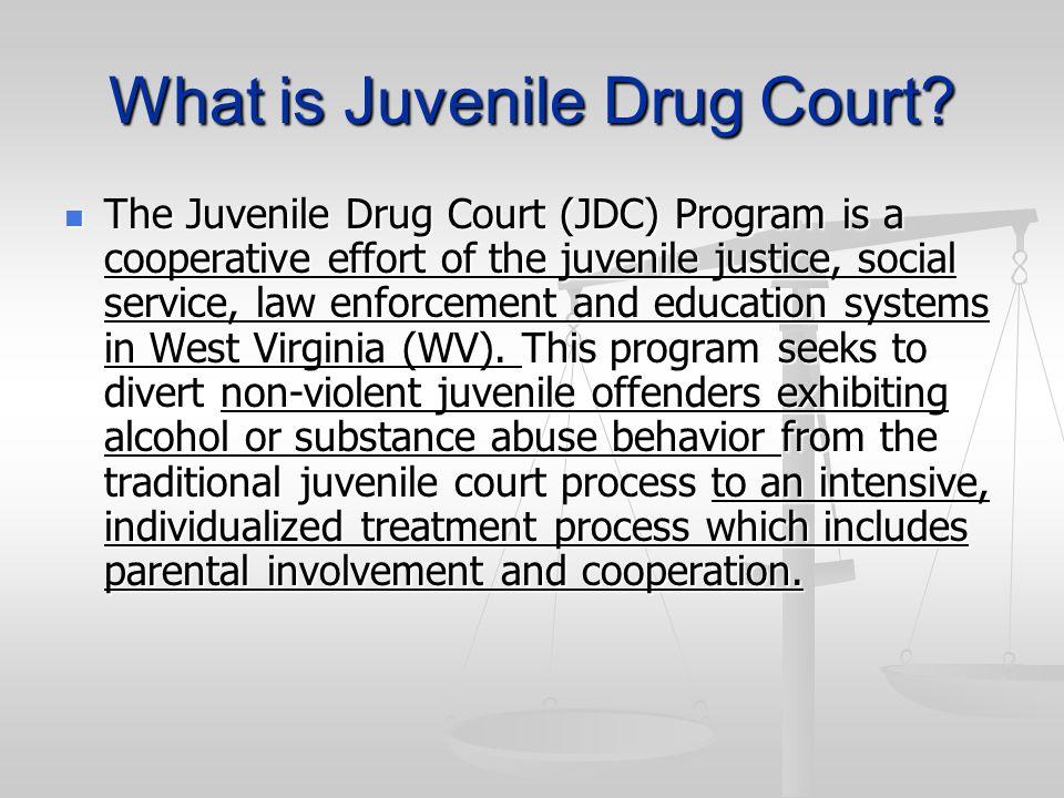 What is Juvenile Drug Court? The Juvenile Drug Court (JDC) Program is a cooperative effort of the juvenile justice, social service, law enforcement an