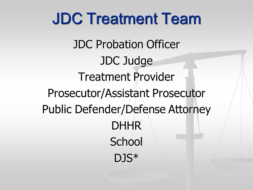 JDC Treatment Team JDC Probation Officer JDC Judge Treatment Provider Prosecutor/Assistant Prosecutor Public Defender/Defense Attorney DHHRSchoolDJS*