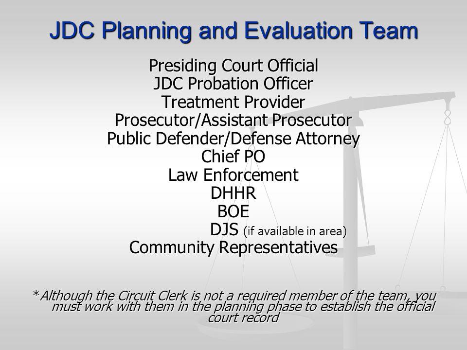 JDC Planning and Evaluation Team Presiding Court Official JDC Probation Officer Treatment Provider Prosecutor/Assistant Prosecutor Public Defender/Def