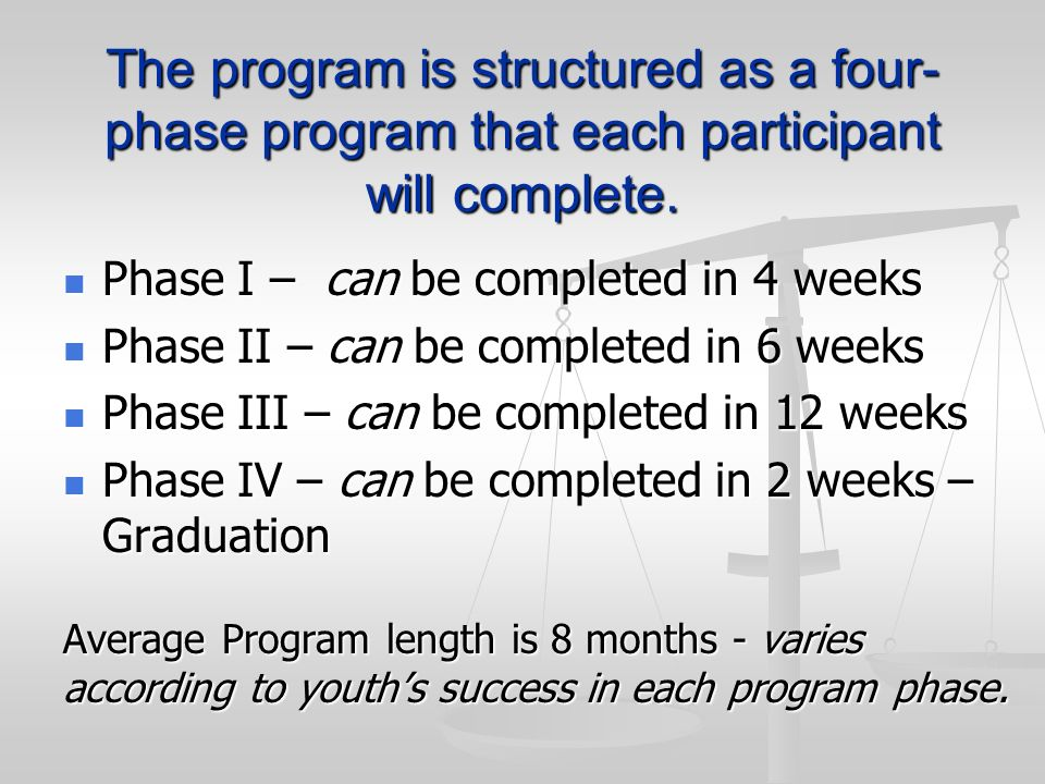 The program is structured as a four- phase program that each participant will complete. Phase I – can be completed in 4 weeks Phase I – can be complet
