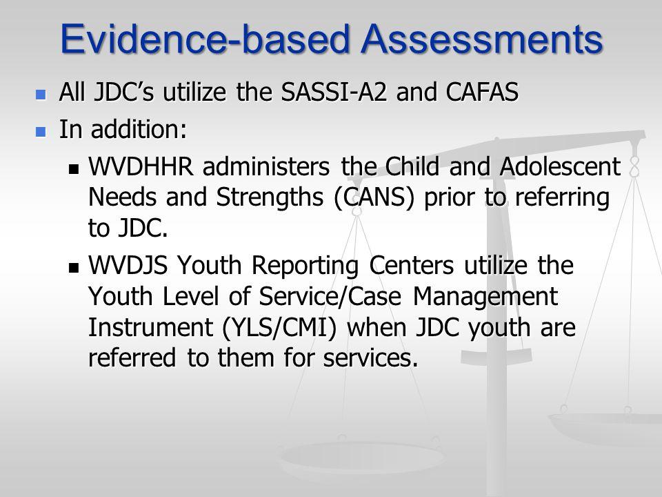 Evidence-based Assessments All JDCs utilize the SASSI-A2 and CAFAS All JDCs utilize the SASSI-A2 and CAFAS In addition: In addition: WVDHHR administer