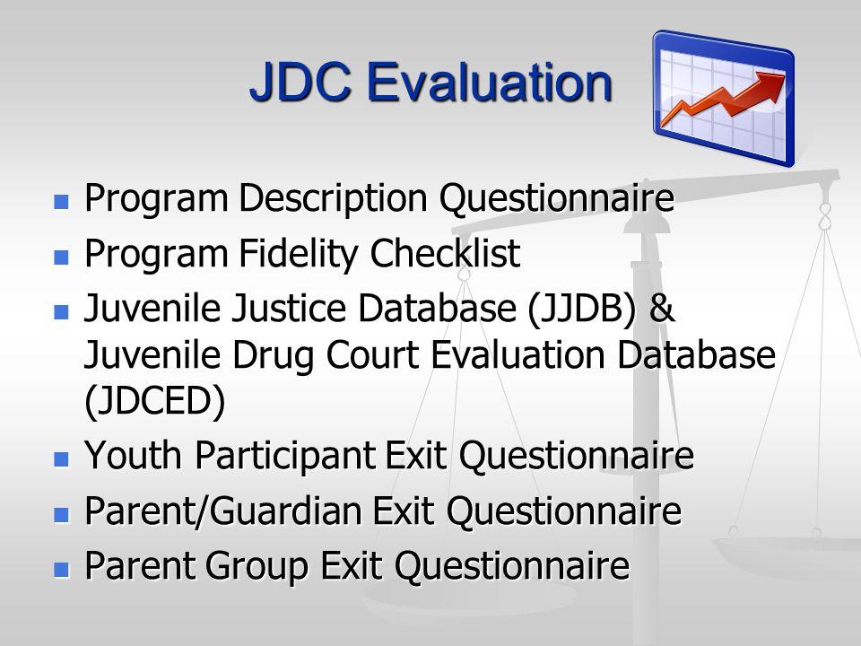 JDC Evaluation Program Description Questionnaire Program Description Questionnaire Program Fidelity Checklist Program Fidelity Checklist Juvenile Just