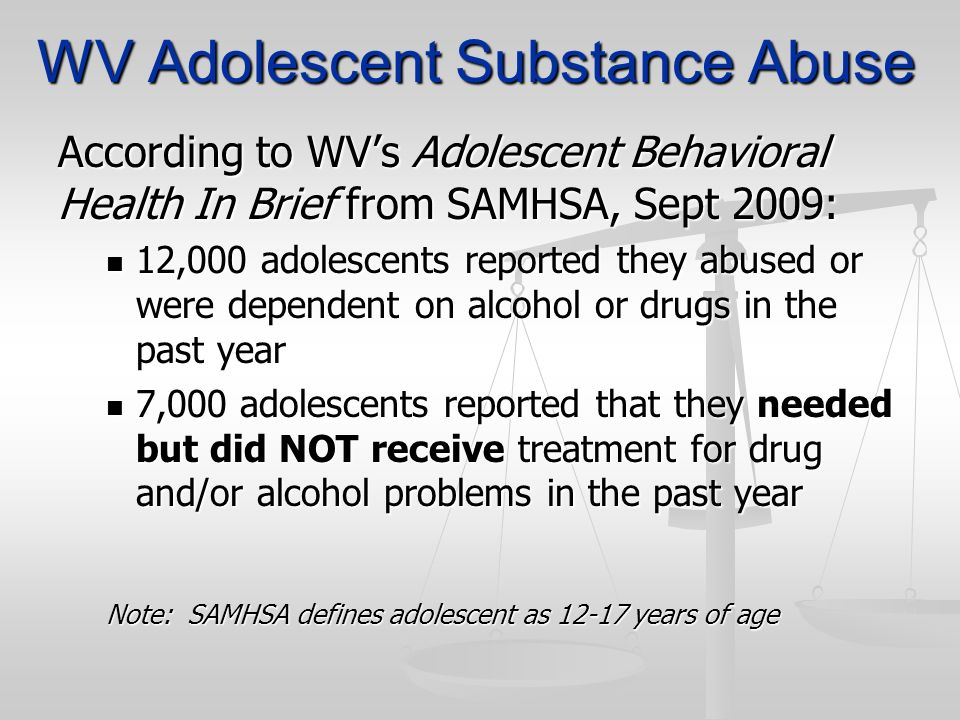 WV Adolescent Substance Abuse According to WVs Adolescent Behavioral Health In Brief from SAMHSA, Sept 2009: 12,000 adolescents reported they abused o
