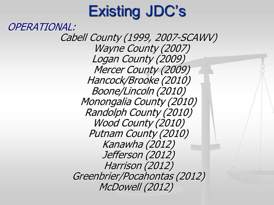 Existing JDCs OPERATIONAL: Cabell County (1999, 2007-SCAWV) Wayne County (2007) Wayne County (2007) Logan County (2009) Mercer County (2009) Mercer Co