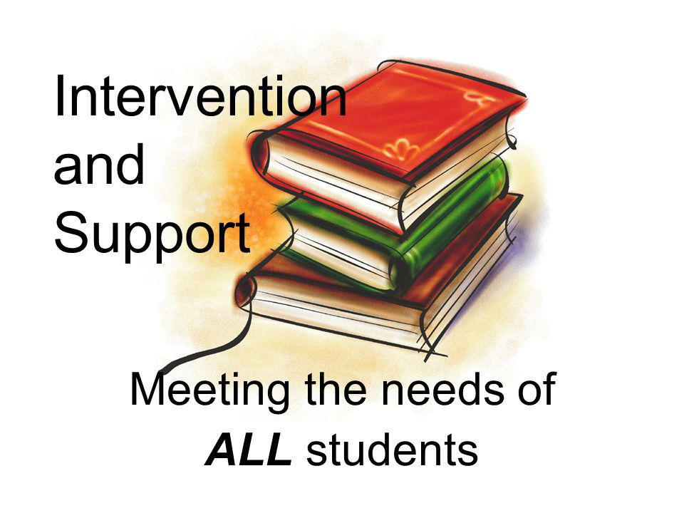 Intervention and Support Meeting the needs of ALL students