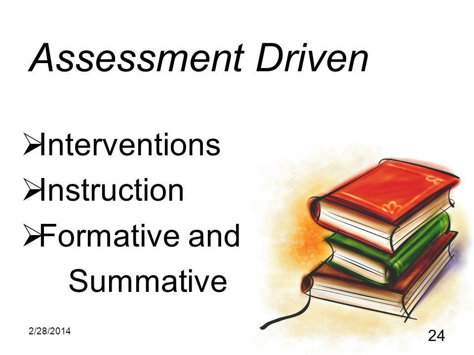 2/28/2014 24 Assessment Driven Interventions Instruction Formative and Summative