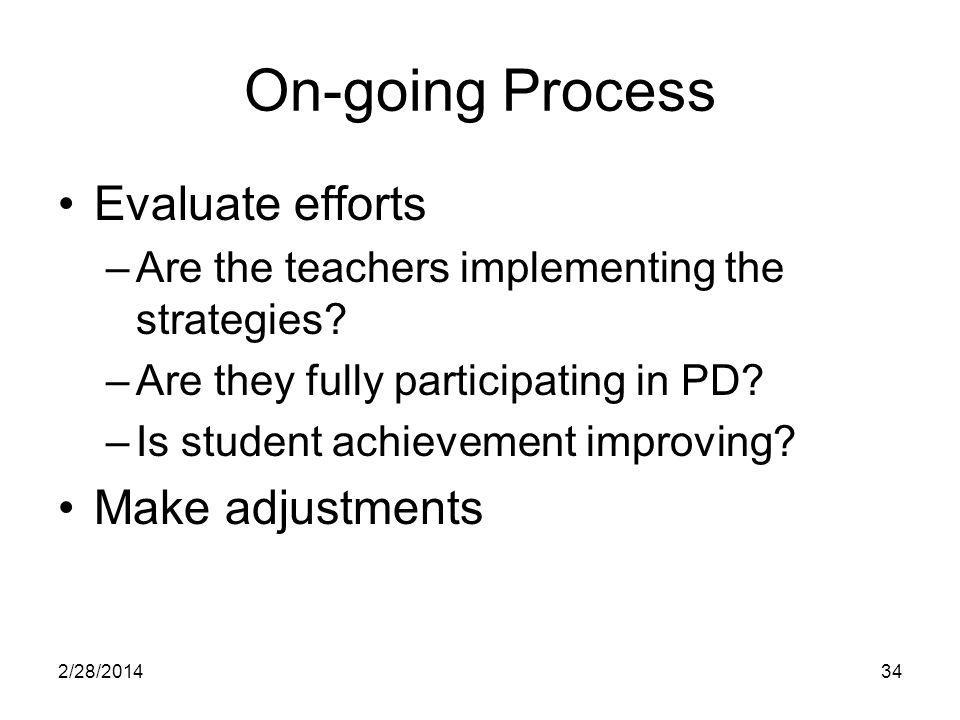 2/28/201434 On-going Process Evaluate efforts –Are the teachers implementing the strategies.