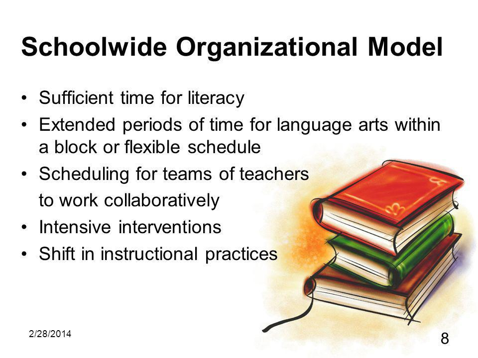 2/28/2014 8 Schoolwide Organizational Model Sufficient time for literacy Extended periods of time for language arts within a block or flexible schedule Scheduling for teams of teachers to work collaboratively Intensive interventions Shift in instructional practices