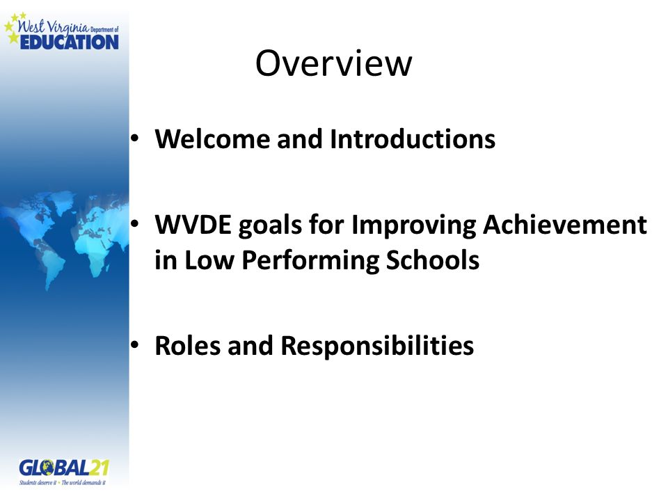 Overview Welcome and Introductions WVDE goals for Improving Achievement in Low Performing Schools Roles and Responsibilities