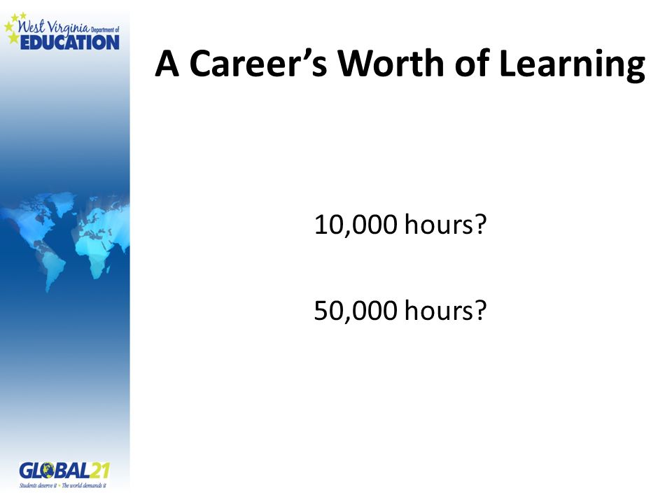 A Careers Worth of Learning 10,000 hours 50,000 hours