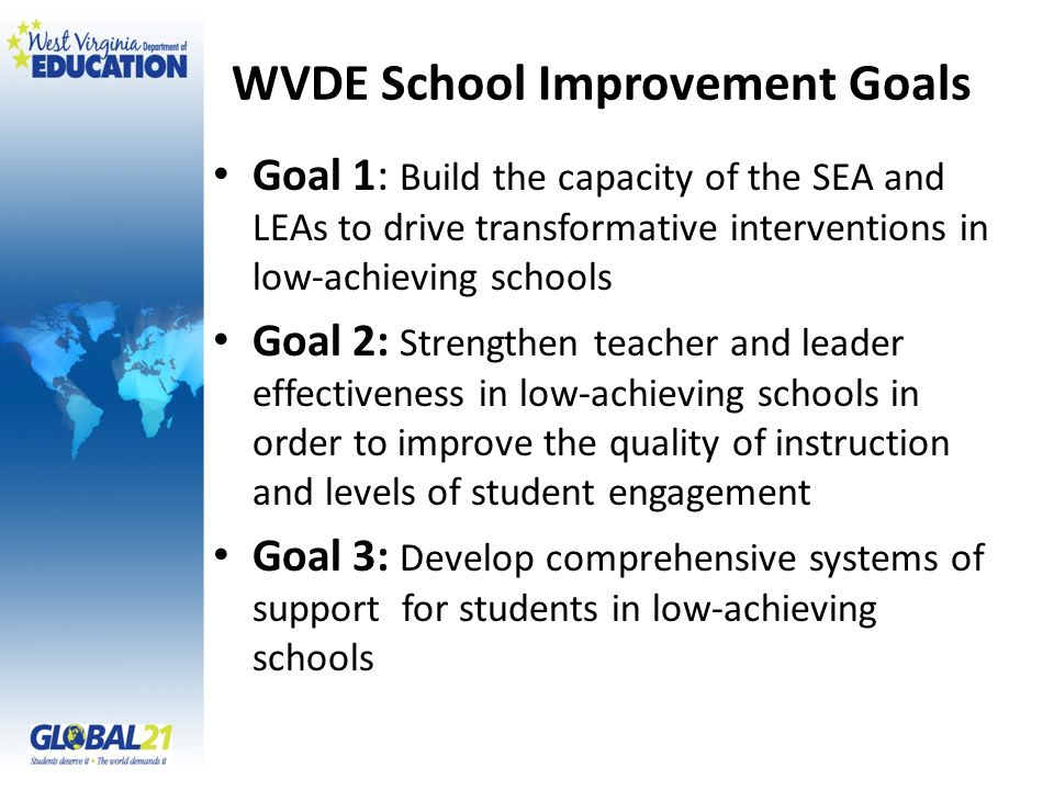 WVDE School Improvement Goals Goal 1: Build the capacity of the SEA and LEAs to drive transformative interventions in low-achieving schools Goal 2: Strengthen teacher and leader effectiveness in low-achieving schools in order to improve the quality of instruction and levels of student engagement Goal 3: Develop comprehensive systems of support for students in low-achieving schools