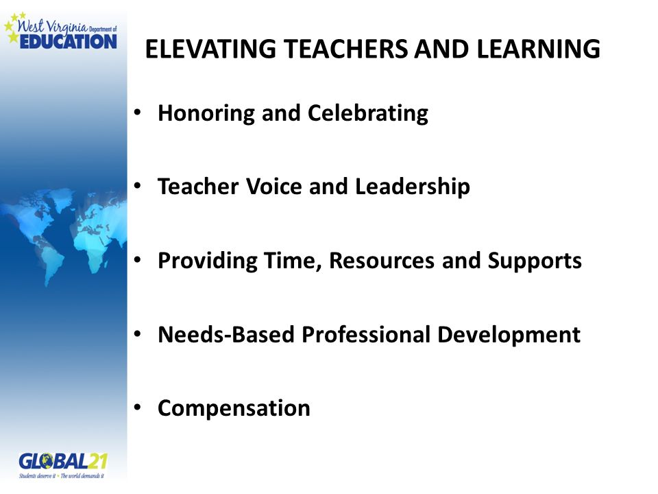 ELEVATING TEACHERS AND LEARNING Honoring and Celebrating Teacher Voice and Leadership Providing Time, Resources and Supports Needs-Based Professional Development Compensation