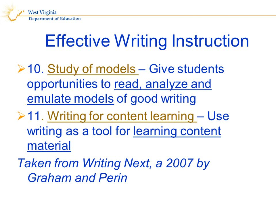 Effective Writing Instruction 10.