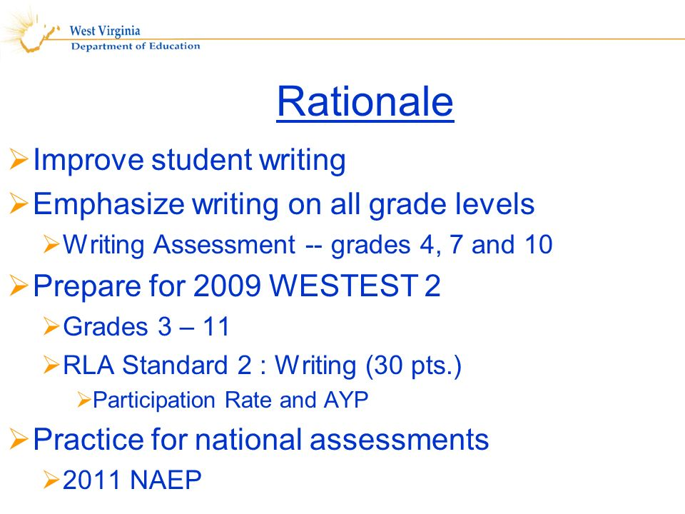 Rationale Improve student writing Emphasize writing on all grade levels Writing Assessment -- grades 4, 7 and 10 Prepare for 2009 WESTEST 2 Grades 3 – 11 RLA Standard 2 : Writing (30 pts.) Participation Rate and AYP Practice for national assessments 2011 NAEP