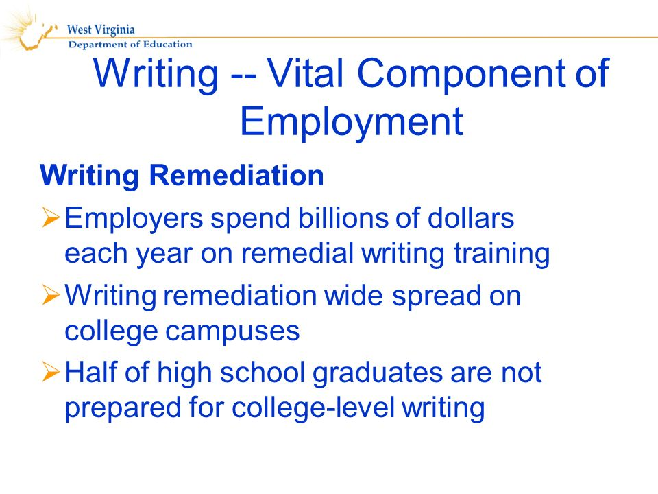 Writing -- Vital Component of Employment Writing Remediation Employers spend billions of dollars each year on remedial writing training Writing remediation wide spread on college campuses Half of high school graduates are not prepared for college-level writing