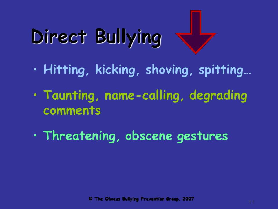 11 Direct Bullying Hitting, kicking, shoving, spitting… Taunting, name-calling, degrading comments Threatening, obscene gestures © The Olweus Bullying Prevention Group, 2007