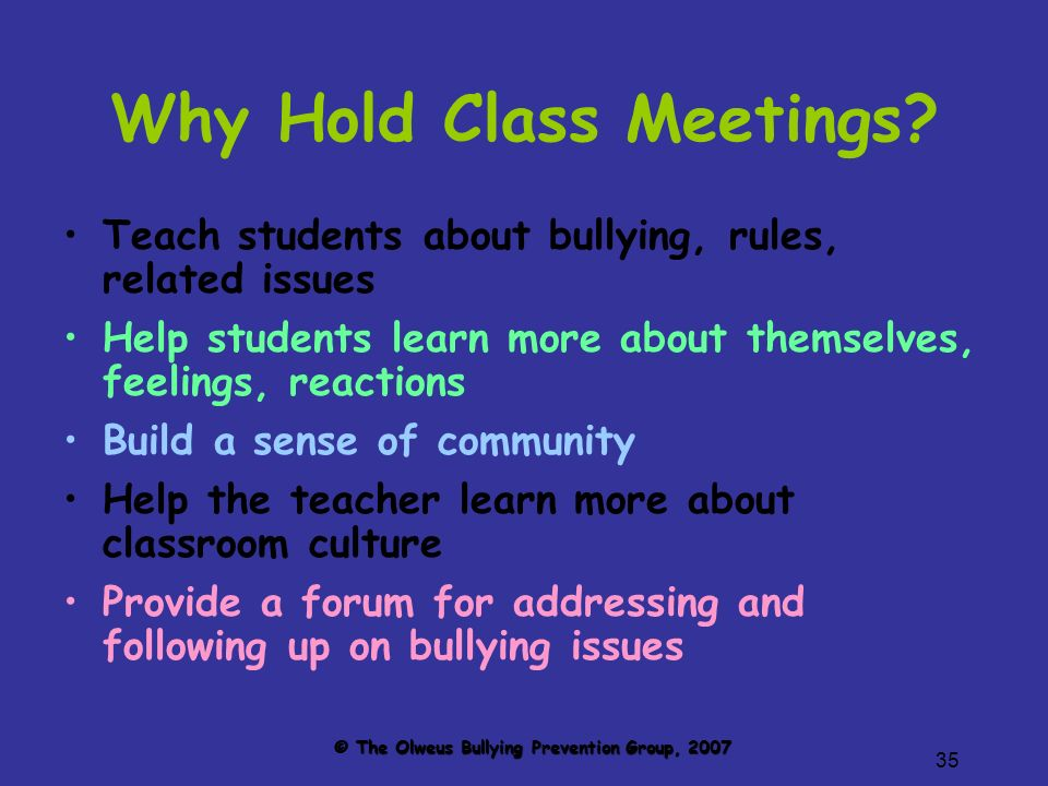 35 Why Hold Class Meetings.
