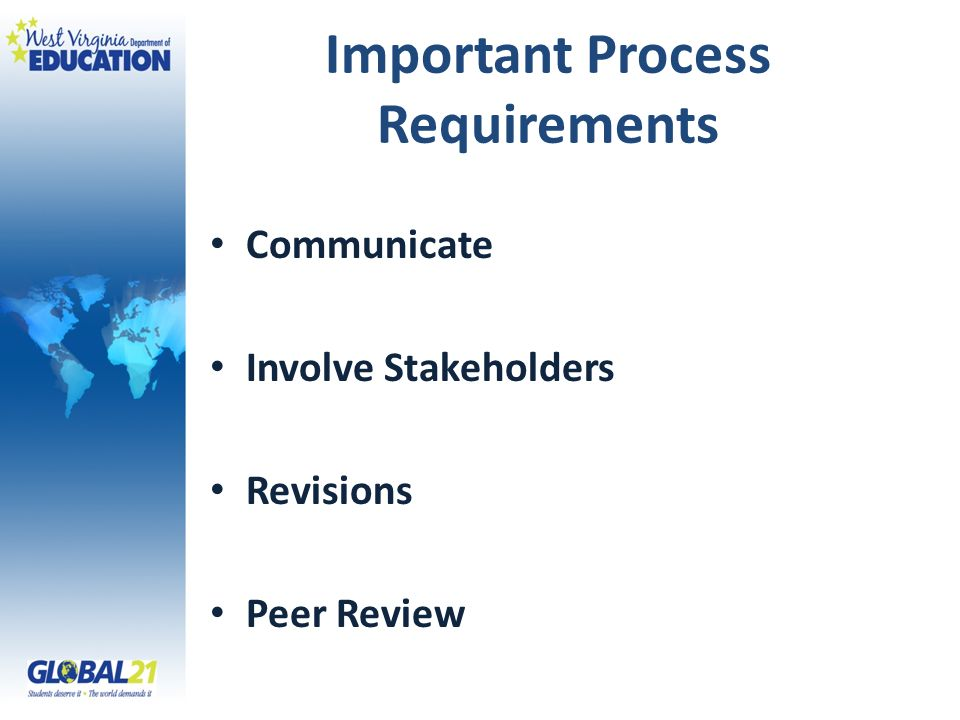 Important Process Requirements Communicate Involve Stakeholders Revisions Peer Review
