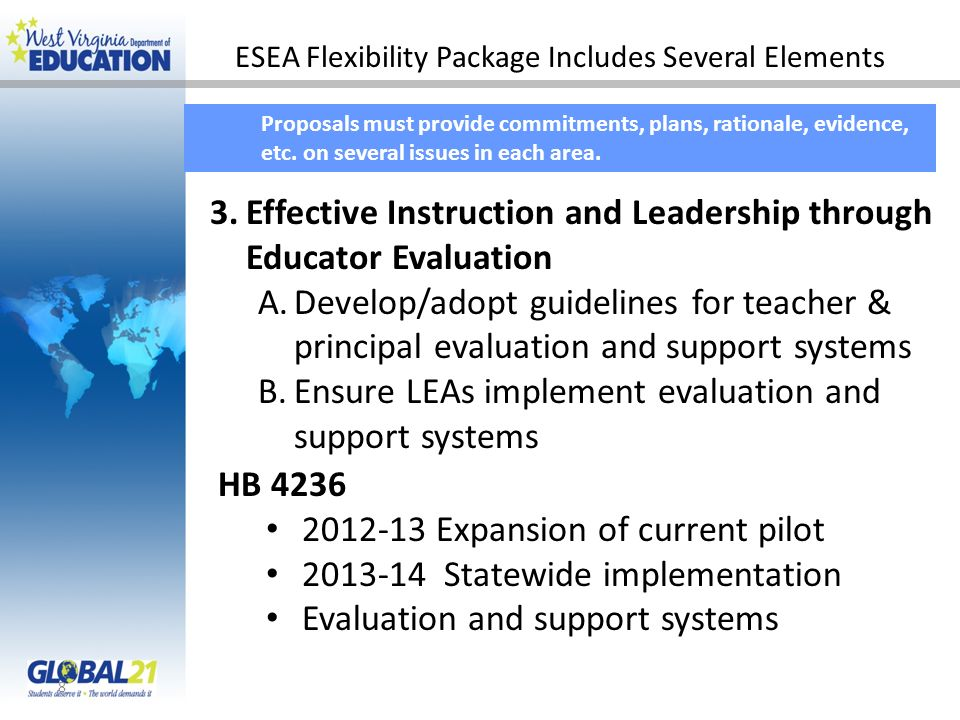 ESEA Flexibility Package Includes Several Elements 8 Proposals must provide commitments, plans, rationale, evidence, etc.