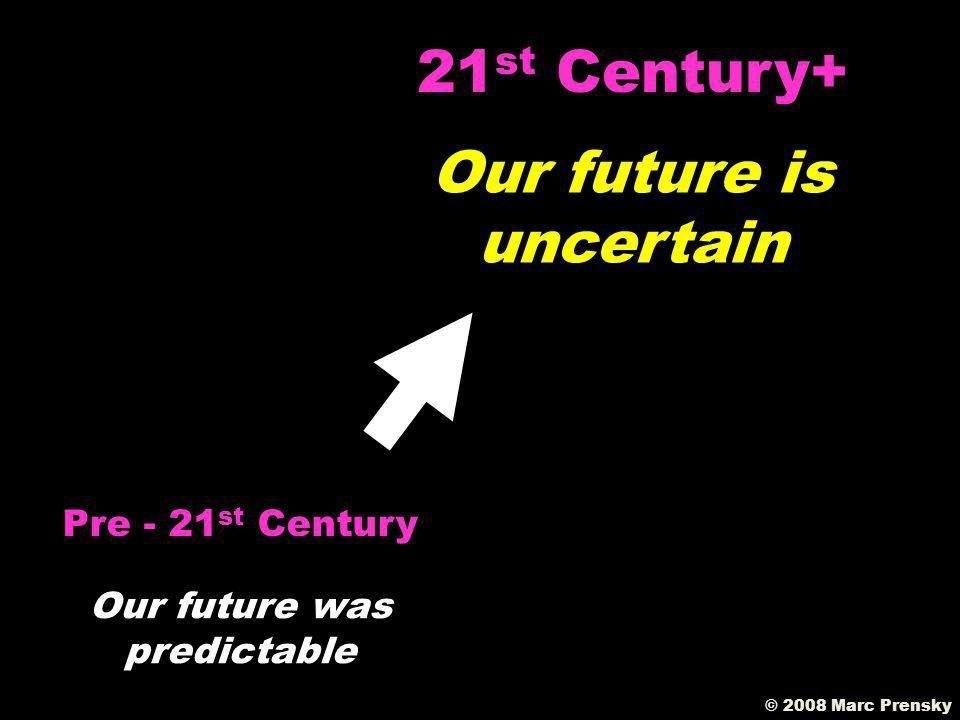 © 2008 Marc Prensky Font of knowledge was the teacher Pre - 21 st Century Font of knowledge Is the Internet 21 st Century+
