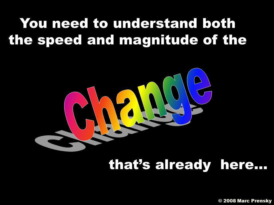 EVERY SINGLE ONE OF YOUR TEACHERS is going to have to CHANGECHANGE how he/she teaches… © 2008 Marc Prensky